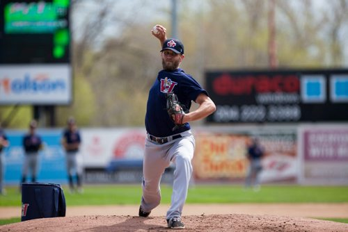 Right hand pitcher Ryan Chaffee (#25) winds up on the mound during batting practice at the Winnipeg Goldeyes Open House at Shaw Park. Saturday, May 6, 2017. Copyright Jessica Finn for the Winnipeg Free Press.