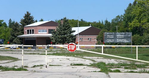 WAYNE GLOWACKI / WINNIPEG FREE PRESS  The view from the closed port in Noyes,Minn. across the border to the closed Canada Customs office in Emerson, Mb. Carol Sanders May 31 2017