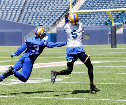 JUSTIN SAMANSKI-LANGILLE / WINNIPEG FREE PRESS Wide Receiver L'Damian Washington (R) catches a long pass while teammate Kevin Fogg attempts to intercept during a scrimmage at Tuesday's practice at Investor's Group Field. 170620 - Tuesday, June 20, 2017.