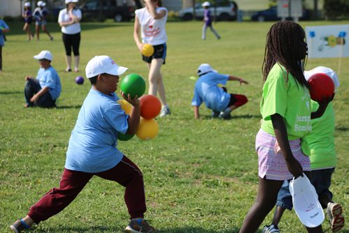 Canstar Community News July 27, 2017 - Kids playing during Winnipeg Jumpstart Games hosted at Sinclair Park Community Centre by Winnipeg Canadian Tire, Sport Check, Mark's, Atmosphere and PartSouce. (LIGIA BRAIDOTTI/CANSTAR COMMUNITY NEWS/TIMES)
