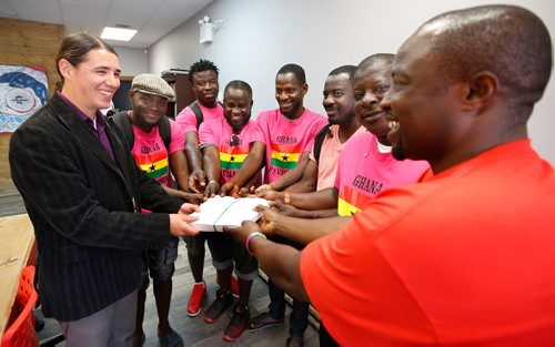 """WAYNE GLOWACKI / WINNIPEG FREE PRESS  Members of the """"Ghana Pavilion"""" delivered their petition to Wpg. Centre MP Robert Falcon Ouellette at left, in his constituency office Tuesday.  Carol Sanders story  August 29 2017"""
