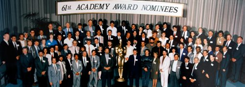WAYNE GLOWACKI / WINNIPEG FREE PRESS  49.8   Cordell Barker, Academy Award-nominated animator's  1988 film The Cat Came Back has just come out in book form. This group photo shows academy award nominees including Cordell in the back row directly below the first E in Nominees. Ask Wayne if unsure.  Dave Sanderson story Sept. 8 2017