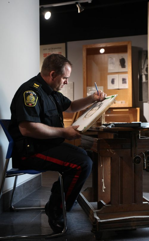 RUTH BONNEVILLE / WINNIPEG FREE PRESS  Where: WPS headquarters on Smith Street  Portraits of Sgt. Kevyn Bourgeois, police sketch artist.  For profile of police sketch artist  Reporter: Katie May   SEPT 13, 2017