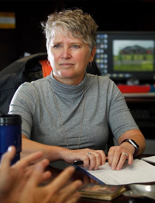 PHIL HOSSACK / WINNIPEG FREE PRESS  -  Lori Lamont of the WInnipeg Health Authority, speaks to Jane Gerster re: Changes in the Winnipeg Health Care system. See story.  - September 25, 2017