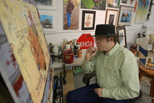 "COLIN CORNEAU / WINNIPEG FREE PRESS ""Diamond"" Doug Keith works on a cowboy painting during an open house at Cre8ery Gallery, Sunday afternoon. Keith, who has been painting since he was 9 years old, joined other artists at the Exchange District gallery in opening their studios to the public for the day. November 12, 2017"