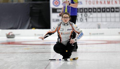 PHIL HOSSACK / Winnipeg Free Press - SCOTTIES - Skip Rebecca Lamb Wednesday in Killarney.  January 10, 2018