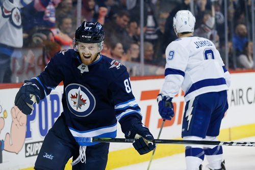 JOHN WOODS / WINNIPEG FREE PRESS Winnipeg Jets' Kyle Connor (81) celebrates his goal against the Tampa Bay Lightning during second period NHL action in Winnipeg on Tuesday, January 30, 2018.
