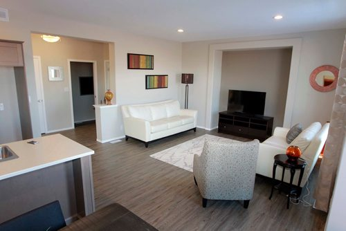 BORIS MINKEVICH / WINNIPEG FREE PRESS NEW HOMES - 139 Castlebury Meadows Drive. Wide open area on the main floor. Kitchen and living room. TODD LEWYS STORY  Feb. 12, 2018