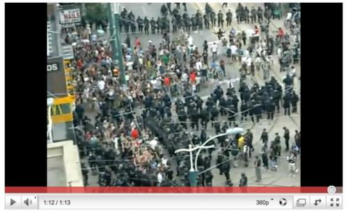 Police penn protestors at Queen and Spadina in Toronto during G20 on Sunday - for melissa martin story winnipeg free press