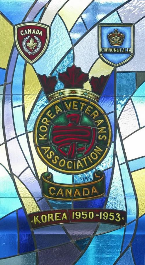 Marc Gallant/Winnipeg Free Press. Local- Korea Veterans Association stained glass window at Deer Lodge Centre. Dedication with Minister of Veterans Affairs Dr. Rey Pagtakhan. March 12, 2003.