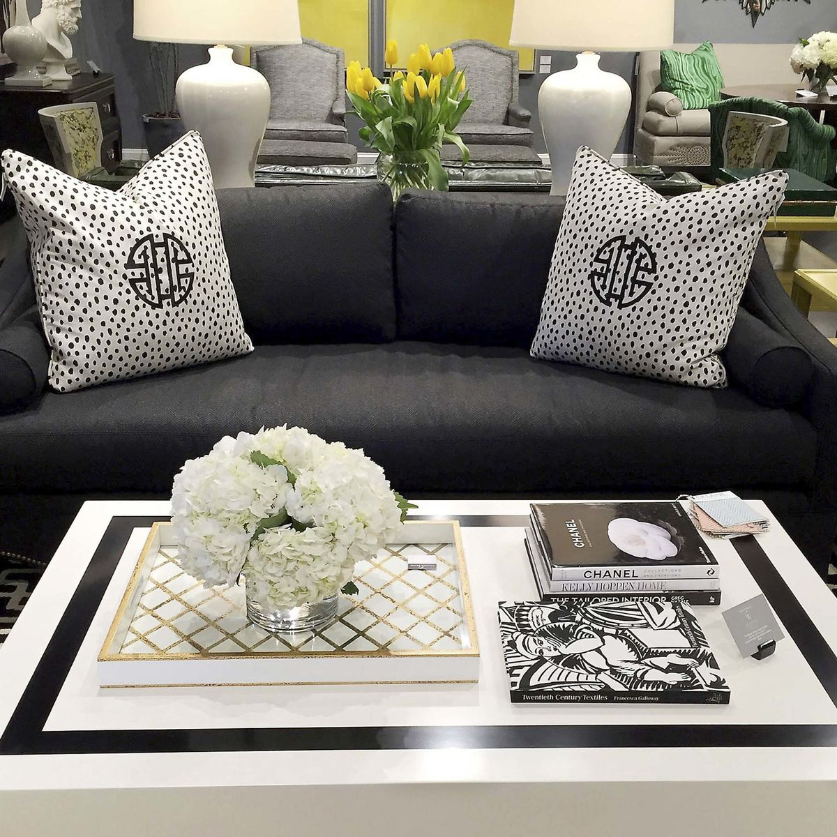 <p>A Tobi Fairley coffee table is paired with her Eva sofa for C.R. Laine in Derek Onyx fabric. (Patricia Sheridan/Pittsburgh Post-Gazette/TNS)</p></p>
