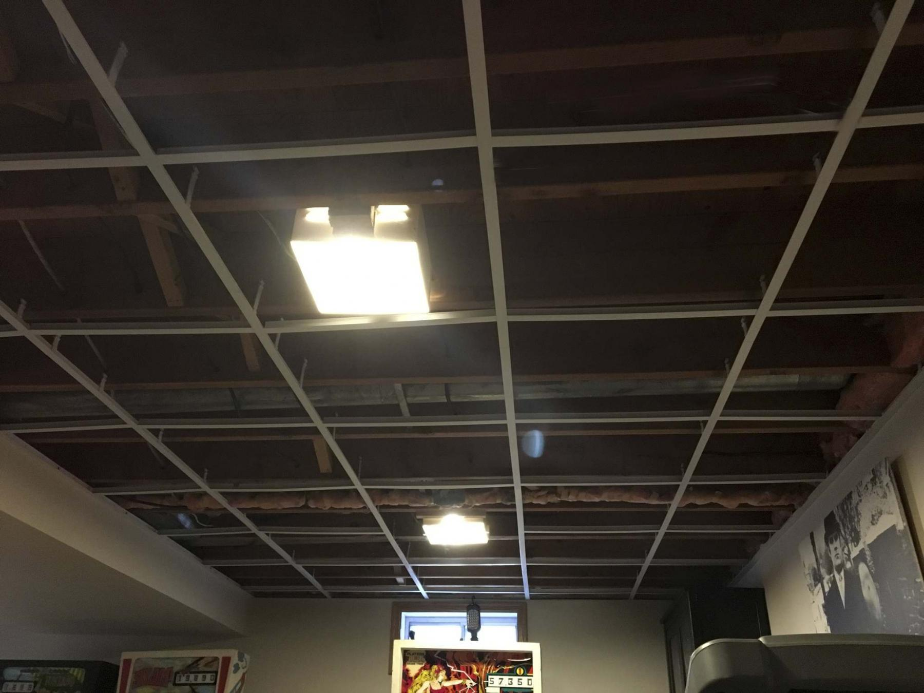 <p>The existing ceiling grid is salvaged to minimize the cost of the suspended ceiling facelift. </p>