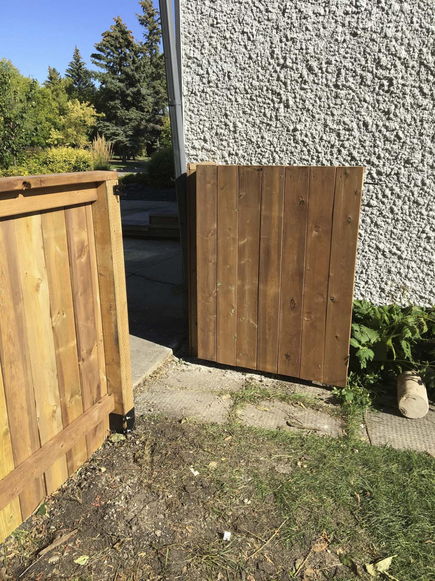 <p>Fence boards on the gate render it invisible from the front when the gate is shut.</p>