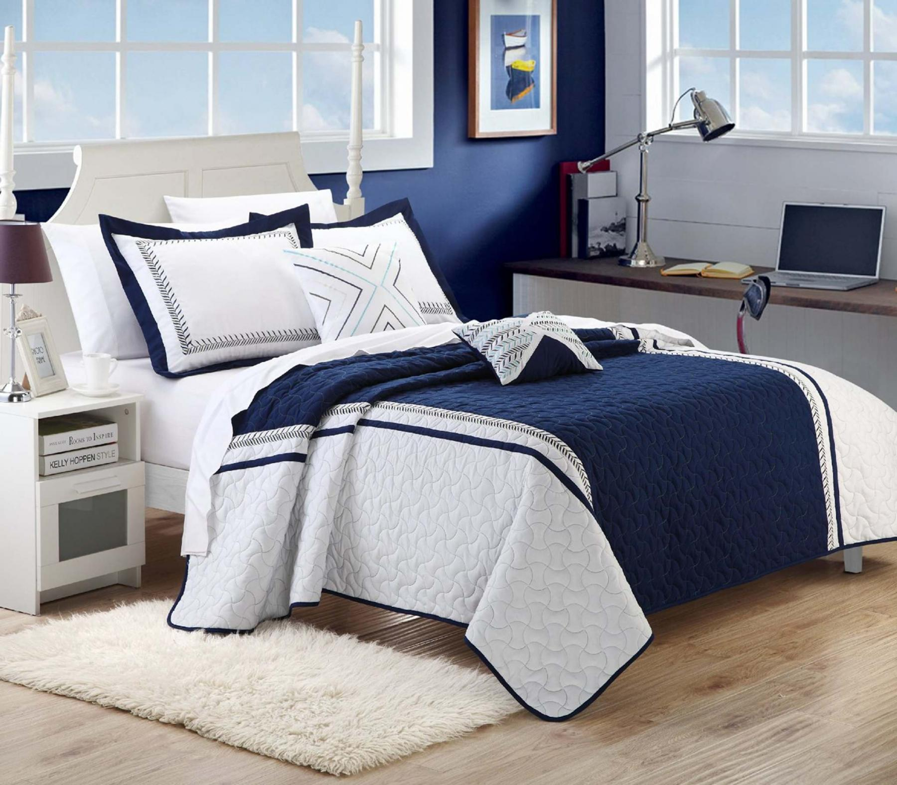 <p>Wayfair</p><p>Blue and white is a traditional mix that looks fantastic in any season or room.</p>