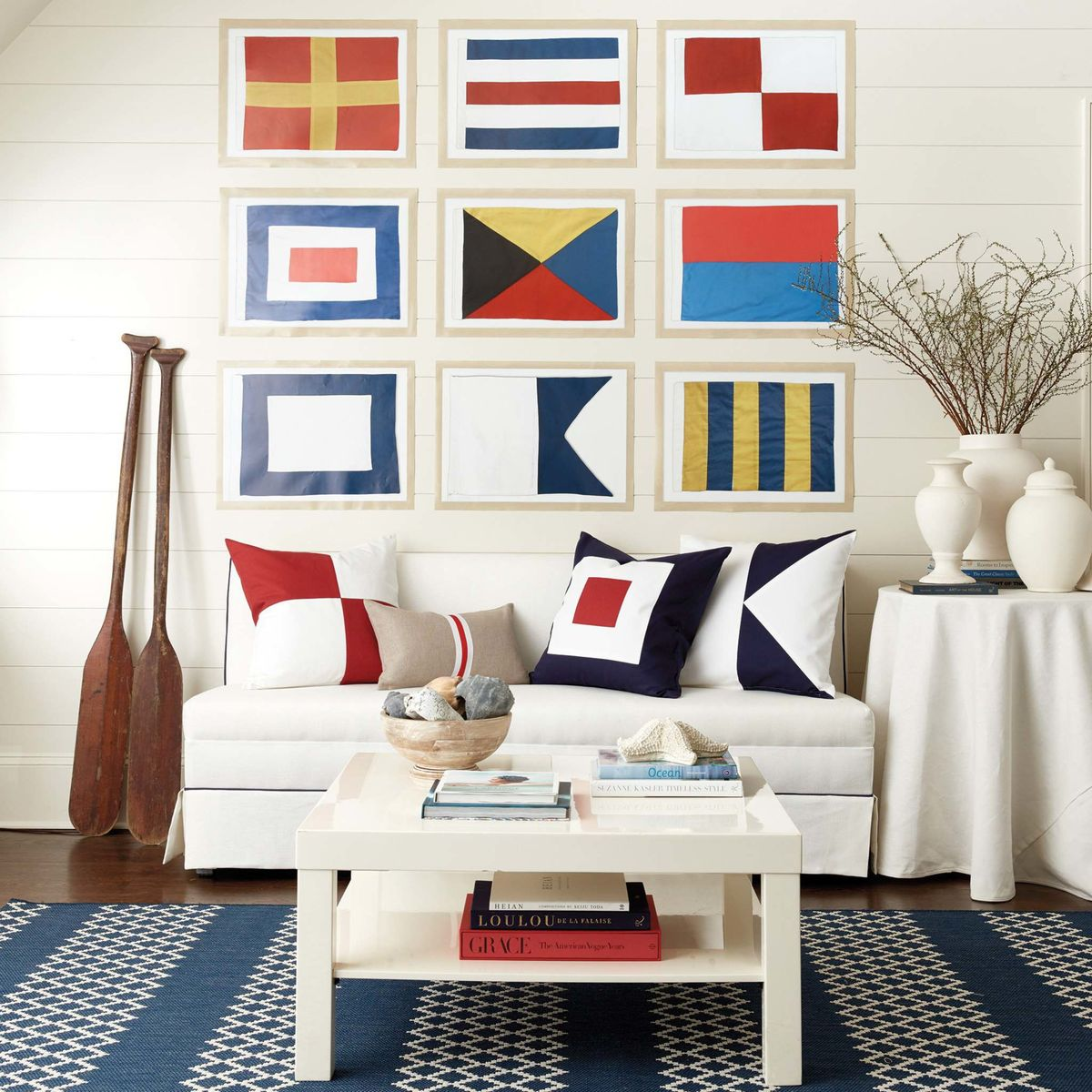 <p>Ballard Designs</p><p>Suzanne Kasler's Seafarer nautical flag collection. The collection places the graphic, modern flags inside natural wood frames; they'd make a striking display either solo or in multiples.</p></p>
