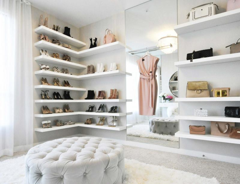 <p>LA Closet Design</p><p>This closet, designed for lifestyle blogger Jessi Malay by LA Closet Design, features floating shelves to display her collection of shoes. </p>