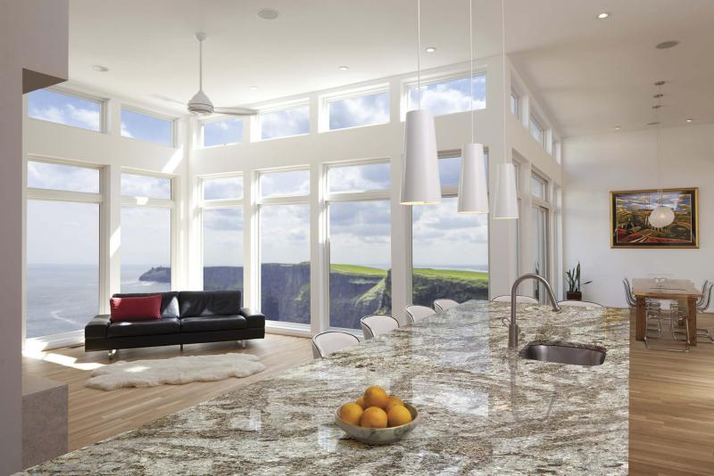 <p>Courtesy of Cambria</p><p>The granite look may not be as popular as it once was, but lava, recycled glass and marble are good kitchen counter options.</p></p>
