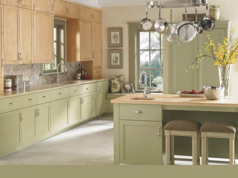Connie oliver colour choice makes eclectic kitchen lovely for Grey green kitchen cabinets