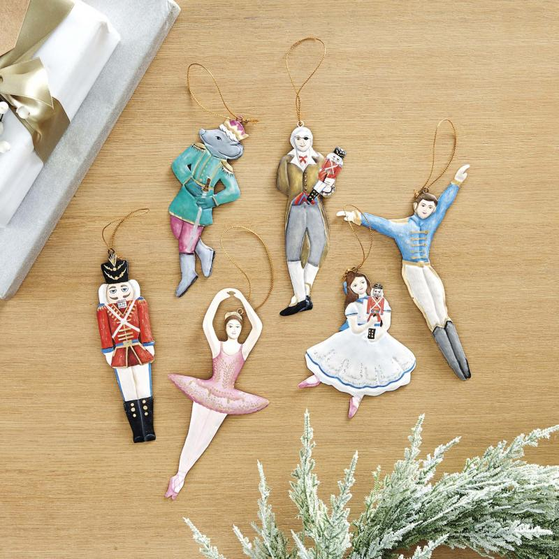 <p>This undated photo shows Ballard Designs' Nutcracker collection of ornaments. Each handmade, handpainted 3D ornament features a character from the iconic holiday play. (Ballard Designs via AP)</p>