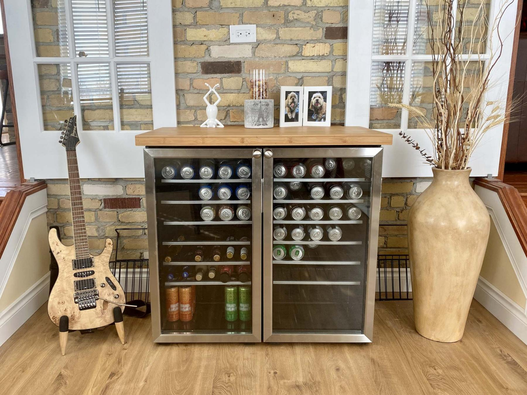 <p>Photos by Marc LaBossiere / Winnipeg Free Press</p><p>A pair of stainless steel Danby coolers were aligned adjacent to each other and a custom bamboo countertop was set on top. </p></p>