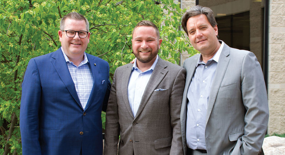 Jonathon Lyon (president and CEO of the HSC Foundation), Vince Barletta (president and CEO of the St. Boniface Hospital Foundation) and Stefano Grande (president and CEO of The Children's Hospital Foundation of Manitoba)