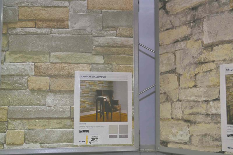 This wallpaper sold by Rona looks and feels like real stone. It's perfect for an accent wall behind a fireplace.