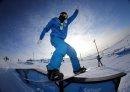 A snowboarder ...