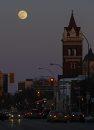 The moon rises ...