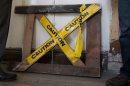 A caution sign ...