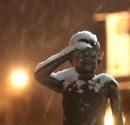 Snow falls ...