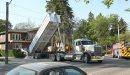 A dump truck ...