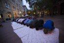 People pray ...