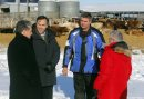 Minister of Finance Bill Morneau in Dugald, MB visiting a cattle farm. It's part of a Pre-Budget Consultations from coast to coast. He visited Calvin Vaag's cattle farm in frigid -20c temps. Left to right - Dan Vandal , minister Bill Morneau, farmer Calvin Vaag, and Liberal candidate/Dawson Trail Terry Hayward. BORIS MINKEVICH / WINNIPEG FREE PRESS January 14, 2016