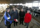 Minister of Finance Bill Morneau in Dugald, MB visiting a cattle farm. It's part of a Pre-Budget Consultations from coast to coast. He visited Calvin Vaag's cattle farm in frigid -20c temps. Left to right - Farmer Calvin Vaag, minister Bill Morneau, Dan Vandal, and Liberal candidate/Dawson Trail Terry Hayward. BORIS MINKEVICH / WINNIPEG FREE PRESS January 14, 2016
