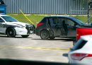 BORIS MINKEVICH / WINNIPEG FREE PRESS Police shooting scene on Archibald between Messier Street and Kavanagh Street. This photo is of the small black car that was rammed by police from behind that ended up in the Roofmart parking lot. July 24, 2017