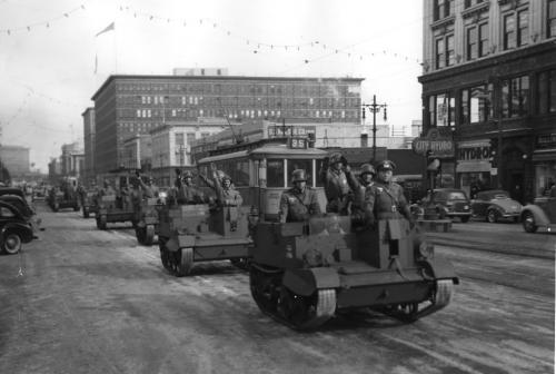 Winnipeg Free Press Archives If day -  Feb 20, 1942 nazi troops march down portage ave feb 19/42
