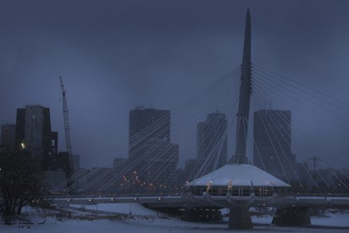 MIKE.DEAL@FREEPRESS.MB.CA 101224 - Friday, December 24, 2010 - The Esplanade Riel and downtown Winnipeg early Christmas Eve morning just as the snow started to fall. MIKE DEAL / WINNIPEG FREE PRESS