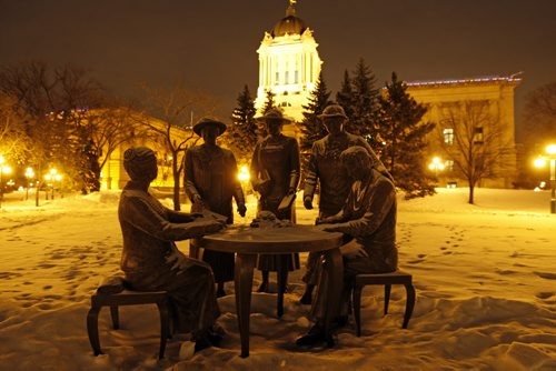 KEN GIGLIOTTI / WINNIPEG FREE PRESS / Jan 10  2011 – WEB STDUP – Frosty morning at -15 degrees C , in pic frost covers the the Nellie McClung statue  on the MB Legislature grounds at 7am