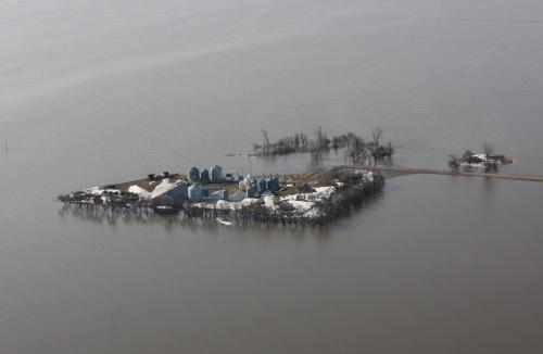 JOE.BRYKSA@FREEPRESS.MB.CA  East of  St Jean Baptiste , Manitoba- ( See Lindor's story)-   A farm is surrounded by the flooding Red River East of St Jean Baptiste Manitoba- JOE BRYKSA/WINNIPEG FREE PRESS- Apr 20, 2011