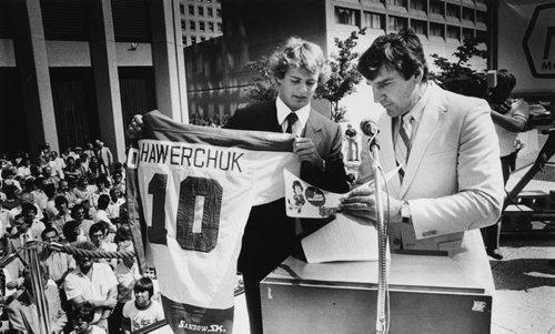 Dale Hawerchuk Jim Wiley photo august 13 1981 winnipeg jets winnipeg free press