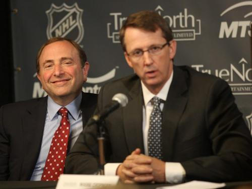 JOE.BRYKSA@FREEPRESS.MB.CASports-( See story- ) Mark Chipman of True North Sports and Entertainment LTD , right, with  NHL commisioner Gary Bettman during the announcement of the  NHL is returning to Winnipeg- JOE BRYKSA/WINNIPEG FREE PRESS- May 31, 2011