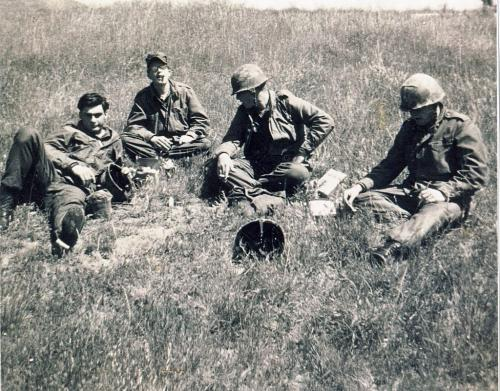 Scanned photo of Camp Pendelton California in 1967. Names from left to right - Gary Watkins (Mb), John Westenhoeffer (Penn), Bill Witlett (Kentucky) and Larry Fairmer (Midwest). Vietnam War soldiers. Winnipeg Free Press