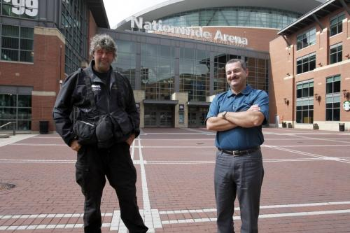 The Winnipeg Jets vs.Columbus Blue Jackets at Nationwide Arena in Columbus, Ohio. THE WFP TEAM IN COLUMBUS, BORIS MINKEVICH AND TIM CAMPBELL IN FRONT OF THE ARENA. Sept. 19, 2011 (BORIS MINKEVICH / WINNIPEG FREE PRESS)
