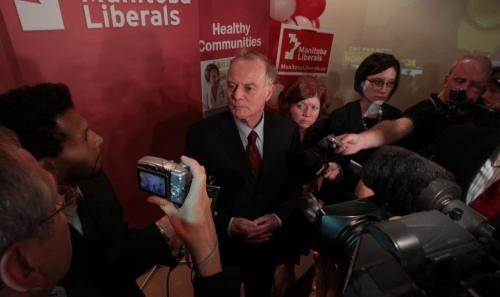 Manitoba Liberal Leader Jon Gerrard talks to the media at party headquarters, the River Heights Community Centre, after winning his seat.  111004 Mike Deal / Winnipeg Free Press