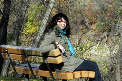 Angela Sylvester in her favorite place, Munson Park.   Oct. 20, 2011 (BORIS MINKEVICH / WINNIPEG FREE PRESS)