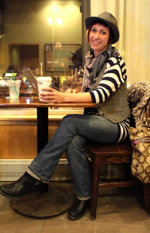 Detour - StreetStyle - Amber van den Broek at Osborne Starbucks working on her laptop. Photo by Celine Bonneville WInnipeg Free Press
