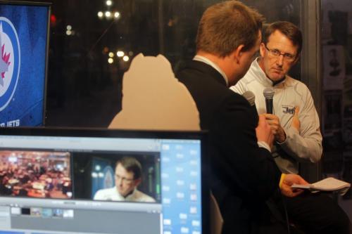 Chipman speaks at News Café. Geoff Kirbyson interviews Mark Chipman at the Winnipeg Free Press News Café.  January 16, 2012 BORIS MINKEVICH / WINNIPEG FREE PRESS