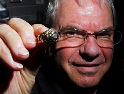 Joe Daley from Joe Daley's Sportscards with an Avco cup ring for sale. January 18, 2012 BORIS MINKEVICH / WINNIPEG FREE PRESS