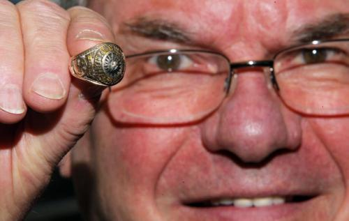 Joe Daley from Joe Daley's Sportscards with an Avco cup ring for sale. January 18, 2012 BORIS MINKEVICH / WINNIPEG FREE PRESS