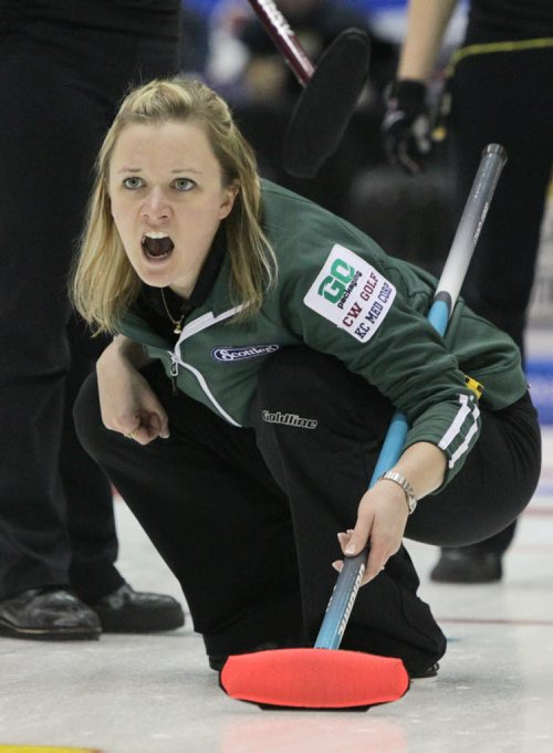 Skip Chelsea Carey shouts after throwing a rock during the Friday afternoon draw against Team Overton-Clapham in the Scotties Tournament of Hearts at the Portage la Prairie PCU Centre. 120127 Mike Deal / Winnipeg Free Press